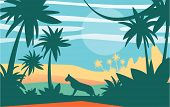 Beautiful Scene Of Nature, Peaceful Jungle Landscape With Tiger At Day Time, Template For Banner, Po poster