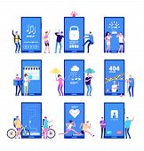 Phone App Concept. Men And Women Standing Near Big Cell Phones With Mobile Apps On Screen. Vector Co poster