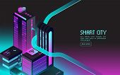 Smart Building. Intelligent Houses In Night City. Augmented Reality 3d Isometric Abstract Futuristic poster