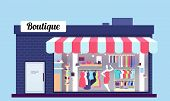 Fashion Store Exterior. Beauty Shop Boutique Exterior With Storefront And Clothes. Vector Illustrati poster