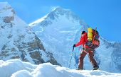Climber Reache The Summit Of Mountain Peak. Climber On The Glacier. Success, Freedom And Happiness,  poster