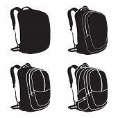 Process Of Drawing A Backpack. Vector Illustration. Backpack Isolated Icon. poster