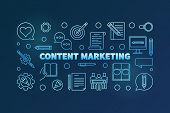 Content Marketing Blue Horizontal Banner Made With Outline Icons. Vector Illustration On Dark Backgr poster