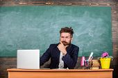 I Am Your New Teacher. School Teacher Ready To Start Lesson. Teacher Bearded Hipster With Eyeglasses poster