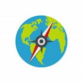 Compass On Earth Icon. Flat Illustration Of Compass On Earth  Icon Isolated On White Background poster