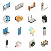 Smart Home Internet Connected Devices Isometric Colorful Icon Set. Vector Illustration poster