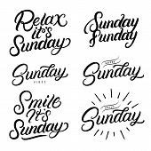 Sunday Set Hand Written Lettering Quotes. Relax Its Sundeay. Hello, Happy Sunday. Smile Its Sunday.  poster
