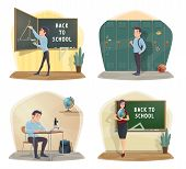 Back To School Icons With Class And Student, Geography Teacher. Geometry Lesson And Triangle On Blac poster