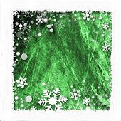 Green background for winter- snow frame