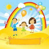 stock photo of cute kids  - kids having a fun party with balloons in a sunny day - JPG