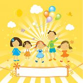 stock photo of cute kids  - happy kids in the park with balloons in a sunny day - JPG