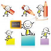 children drawing style educational icon set. Cute girl character series, grouped and layered for eas