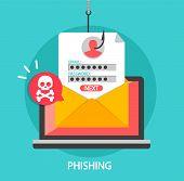 Phishing Login And Password On Fishing Hook. poster