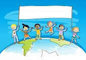 multiracial/ multicultural happy kids on top of the world, holding a banner for your message, waterc