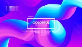 Abstract Gradient Background With Color Liquid Shape. 3d Vector Illustration. Modern Wave Flow Desig poster