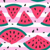 Cute Seamless Pattern With Watermelon Slice On Striped Background. Vector Illustration For Fashion D poster