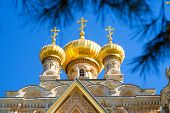 stock photo of church mary magdalene  - Cupola of Saint Maria Magdalena orthodox church in Jerusalem - JPG