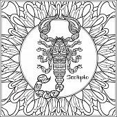Scorpio. Decorative Zodiac Sign On Pattern Background. Outline Hand Drawing. Good For Coloring Page  poster