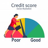 Credit Score, Gauge. Businesswoman Pushing Speedometer Scale Changing Personal Credit Information. P poster