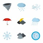 Meteorological Office Icons Set. Flat Set Of 9 Meteorological Office Icons For Web Isolated On White poster