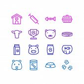 Vector Illustration Of 16 Pet Icons Line Style. Editable Set Of Kibble, Pet Cup, Nutrition And Other poster