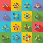 Molecular Structure Chemical Icons Set. Flat Illustration Of 16 Molecular Structure Chemical Icons F poster
