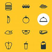 Illustration Of 12 Food Icons Line Style. Editable Set Of Paper Cup, Meal, Lactose And Other Icon El poster