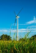 Wind Turbine In Green Grass Field In Central Texas Provides Clean Renewable Energy For The Sustainab poster