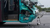 16 August, 2018. Suzhou City, China. Road Accident. Passenger Bus Crasshed. poster