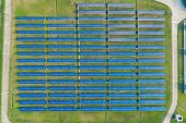 Aerial View Of Solar Energy Panels, Solar Panels, Solar Power Plants. poster