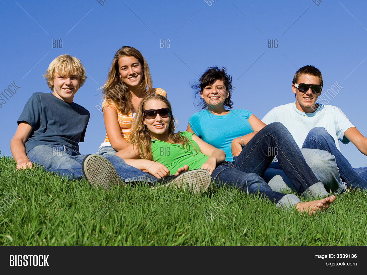 Group of teen friends hanging out stock photo stock for Hanging groups of pictures