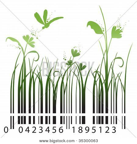 Barcode with blades of grass and flowers