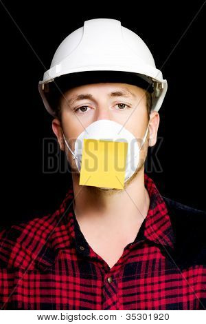 Workman With A Sticky Note Reminder