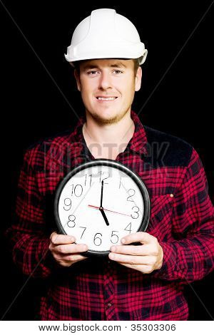 Builder With Clock Showing Home Time