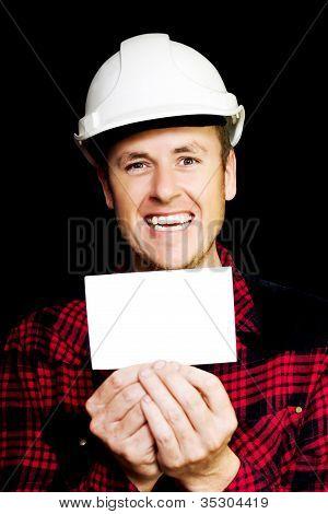 Cheerful Laughing Builder Advertising Blank Card