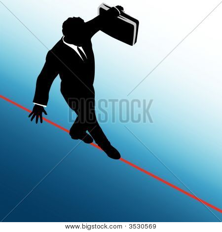 Business Man Risk On Tightrope_Blue To White Background