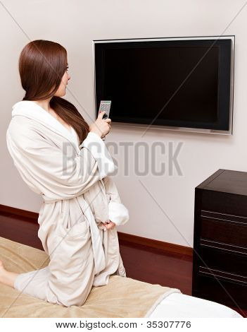 Attractive Woman Watching Tv