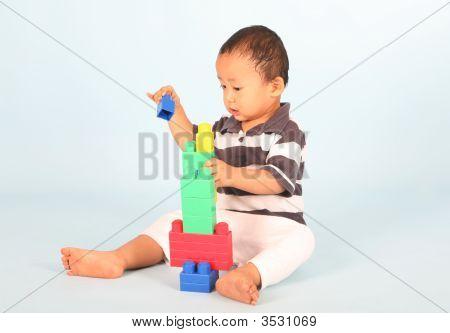 Toddler Plays Block