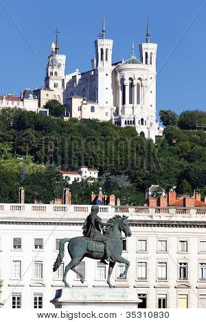 Statue Of Louis Xiv And Basilique Fourviere