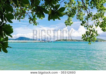 Andaman Sea Islands Through Leaves Of Tropical Trees