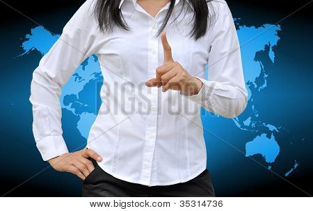 woman hand show 1 number on world background