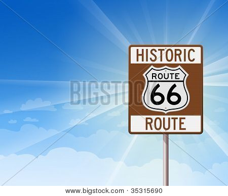 Historic Route 66 and Blue Sky