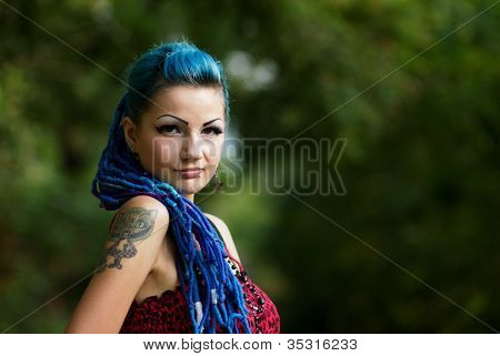 Manga Girl With Dyed Turquoise Hair