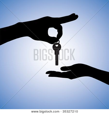Concept Illustration Of Buying And Selling House In Real Estate Market. The Hand Holding The Key Cha