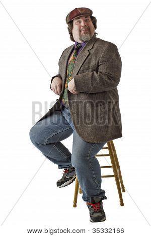 Funny Large Man Imitates A Bird