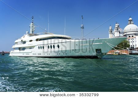 Large white motor yacht