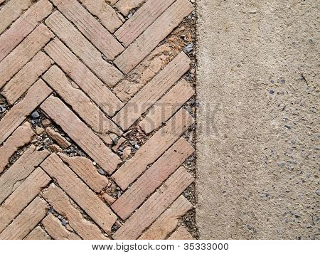 Herringbone Brickwall And Stone Bract