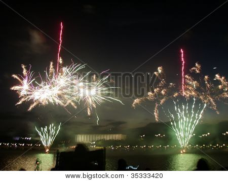 Canberra fireworks over water