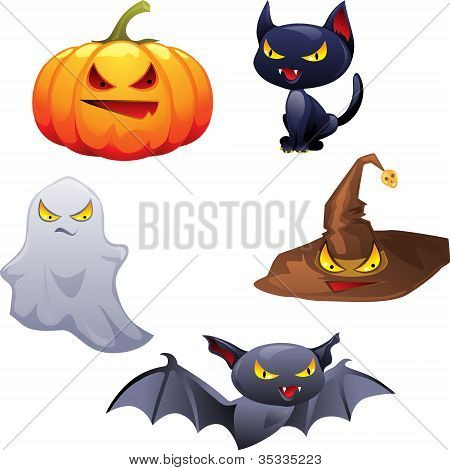 Vector collection of Halloween-related objects and creatures.