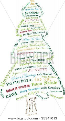 Multi-Lingual Textual Christmas Tree